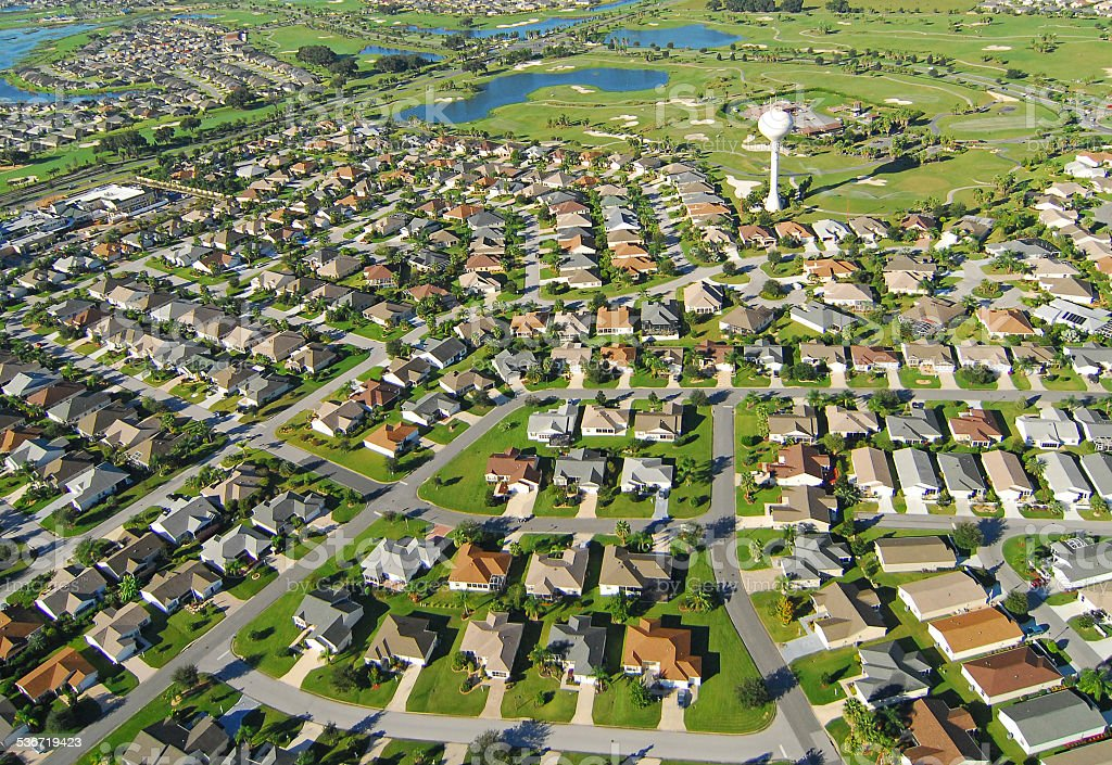 Housing Development and Golf Course Aerial stock photo