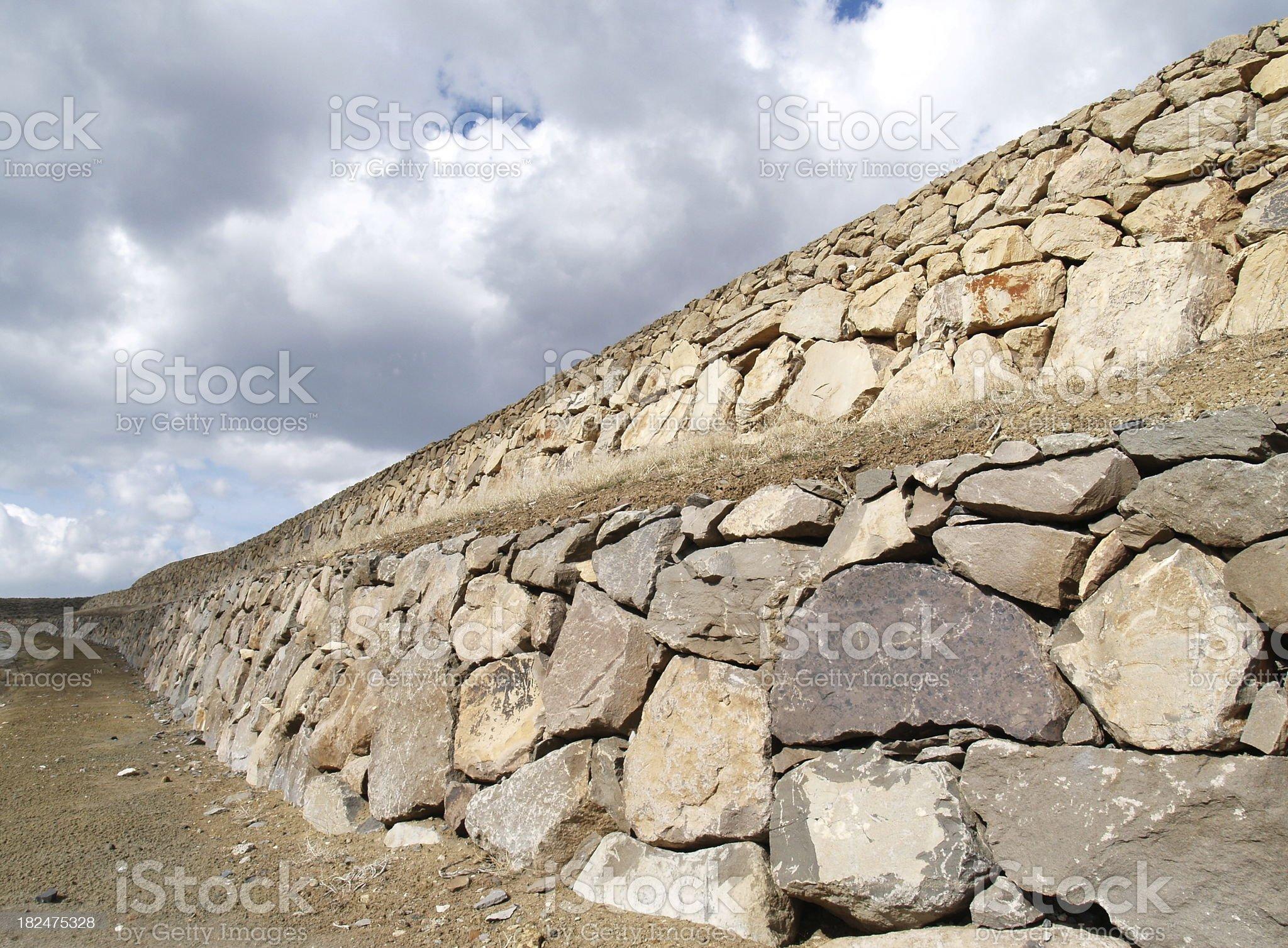Housing Development Retaining Wall royalty-free stock photo