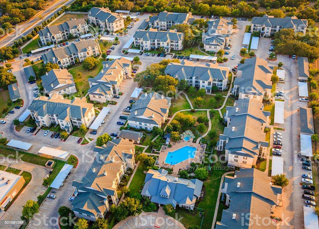 Housing development townhouse apartment complex neighborhood aerial view, Austin Texas stock photo