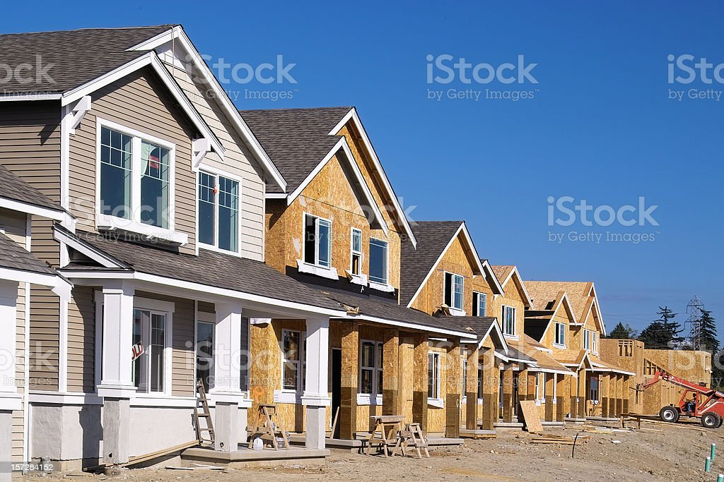 Housing Development Under Construction stock photo
