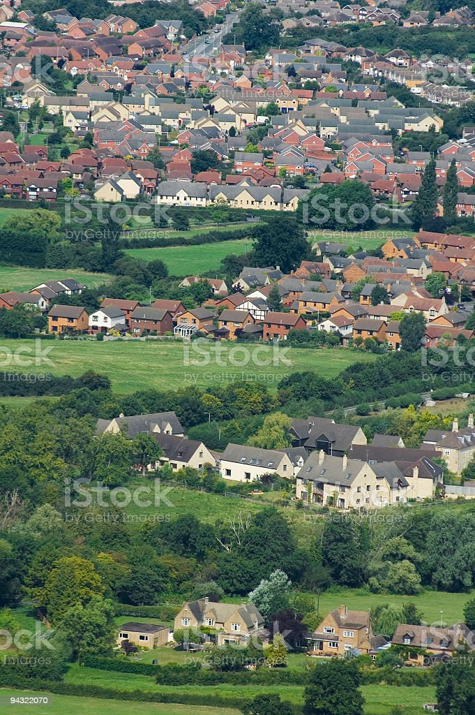 Housing developments and fields royalty-free stock photo