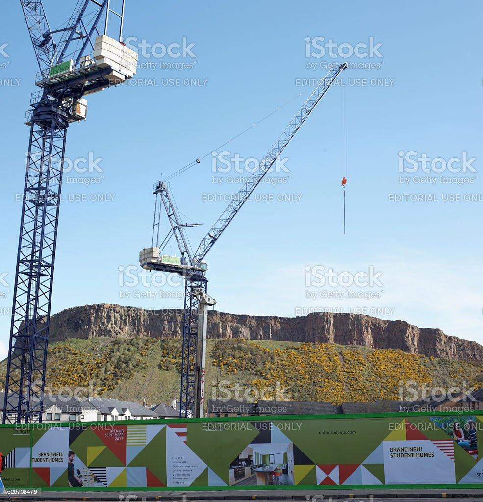 Housing developments in front of landmarks in Edinburgh stock photo