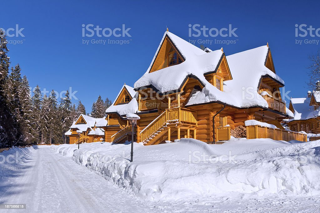 Housing estate in winter royalty-free stock photo