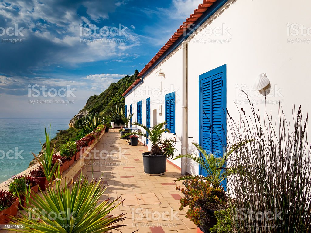 Housing for typical Portuguese Algarve coast stock photo