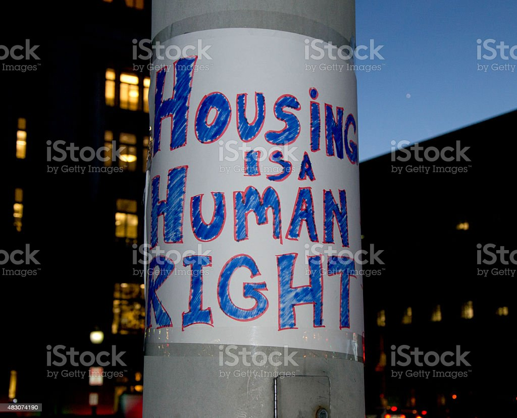 'Housing Is A Human Right' Protest Sign stock photo