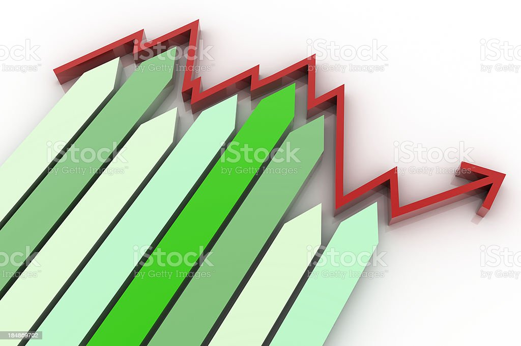 Housing market graph (isolated on-white) royalty-free stock photo
