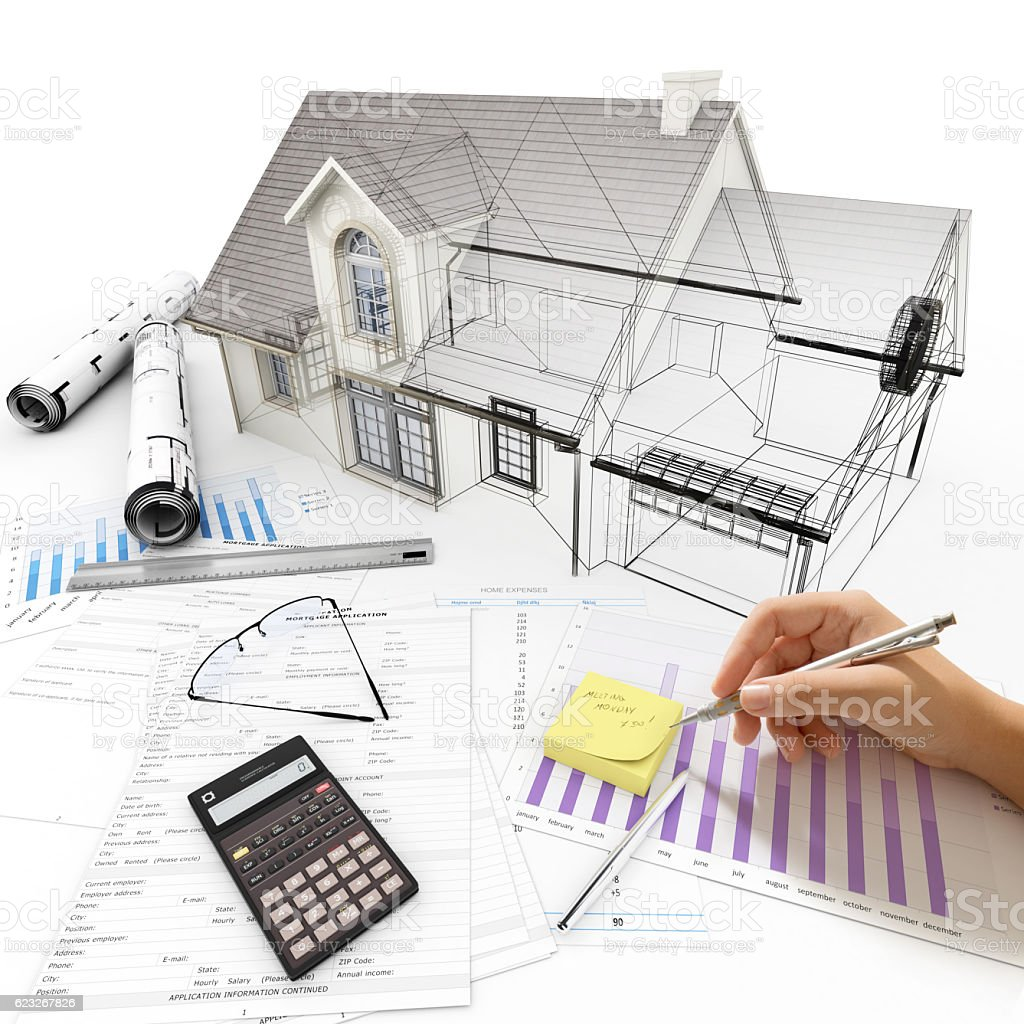 Housing project process stock photo