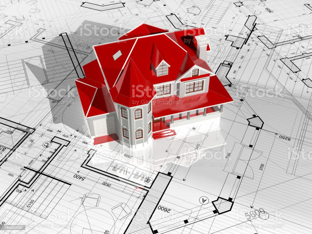 Housing project-Architecture Blueprint royalty-free stock photo