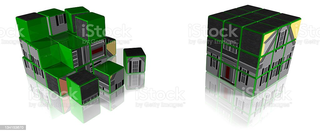 Housing Puzzle & Solution stock photo