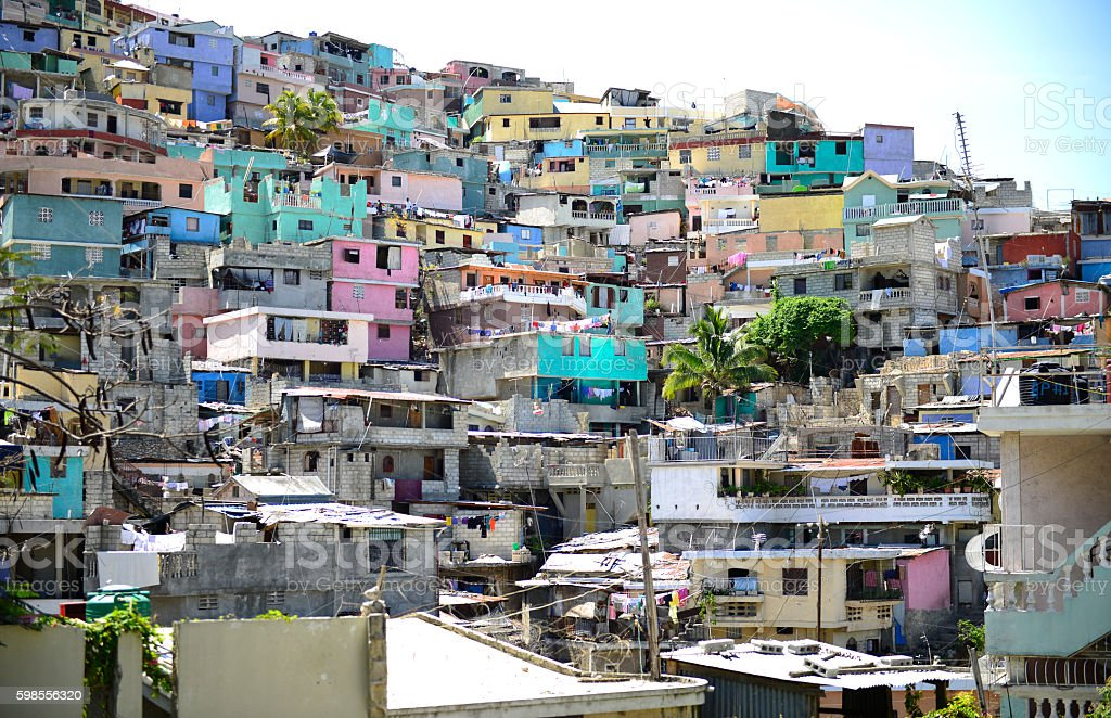 Housing stacked Port-Au-Prince, Haiti. stock photo