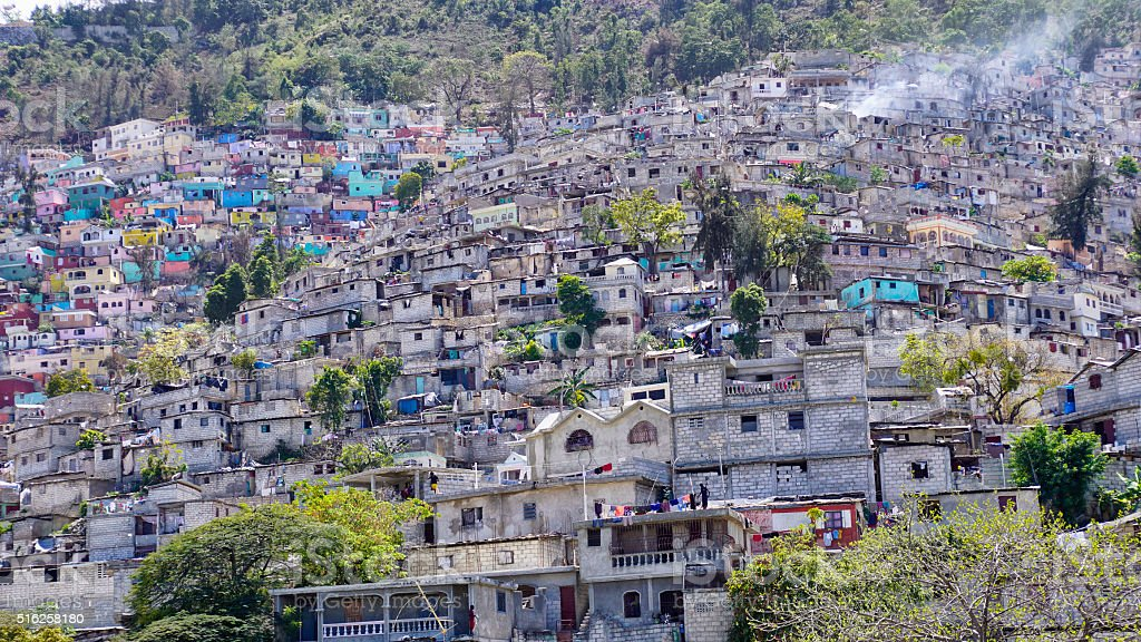 Housing stacked up a hillside in Port-Au-Prince, Haiti. stock photo