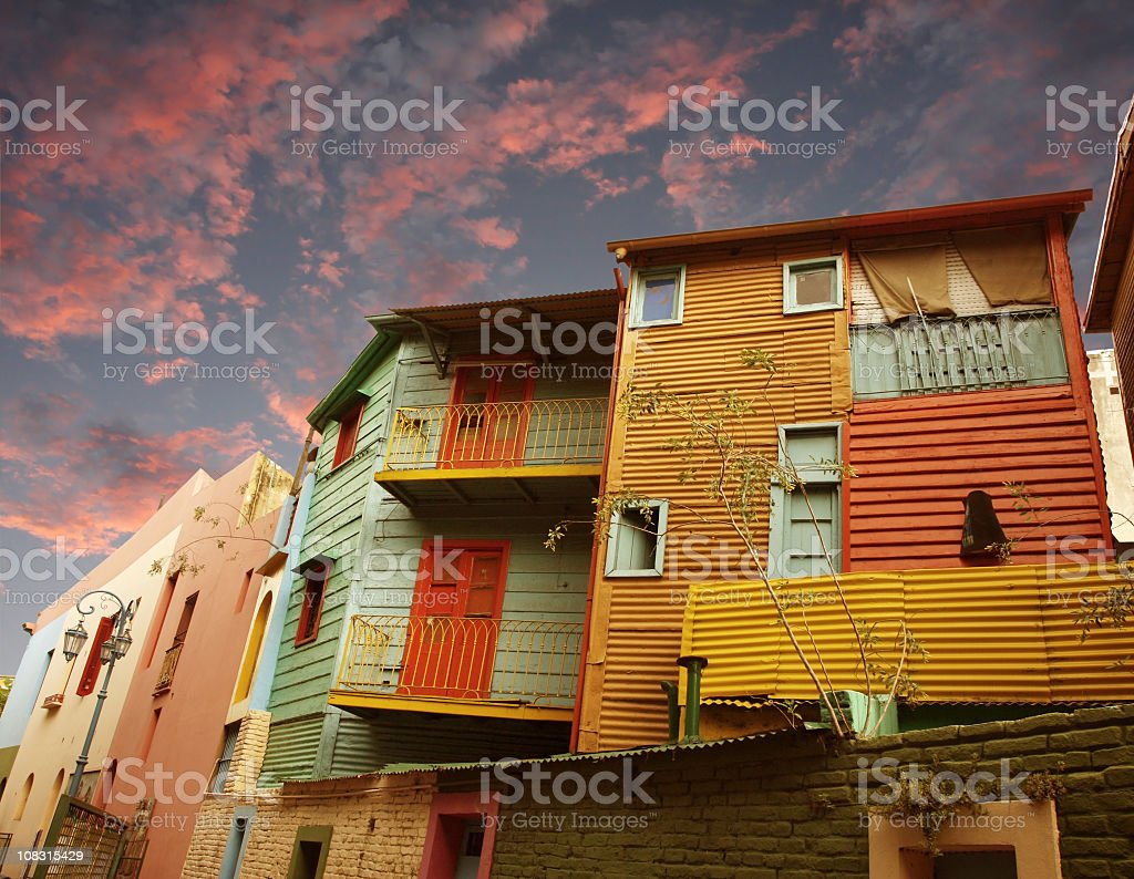 Housing units at sunset in La Boca, Buenos Aires royalty-free stock photo