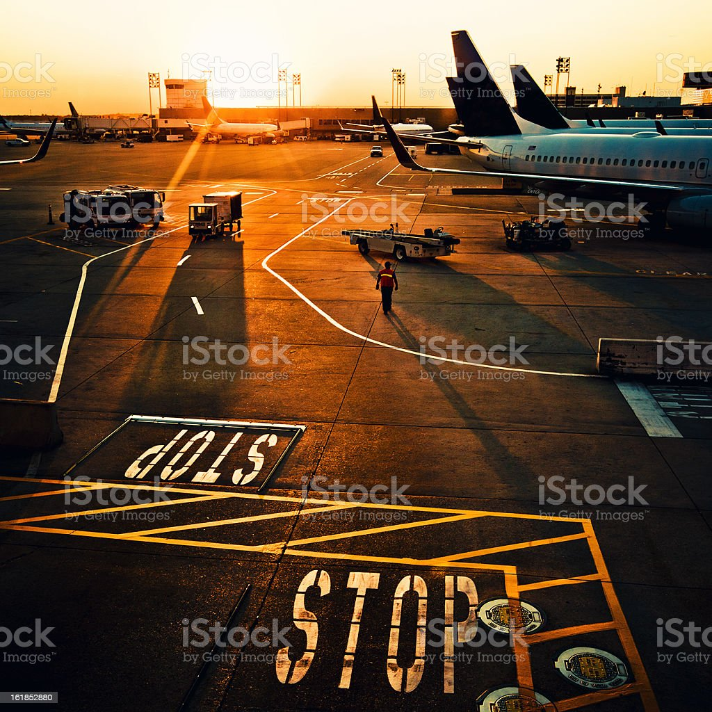 houston airport at sunset stock photo