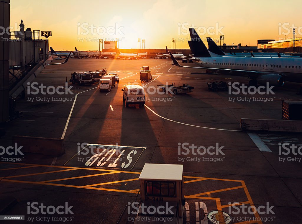 houston airport at sunset stock photo