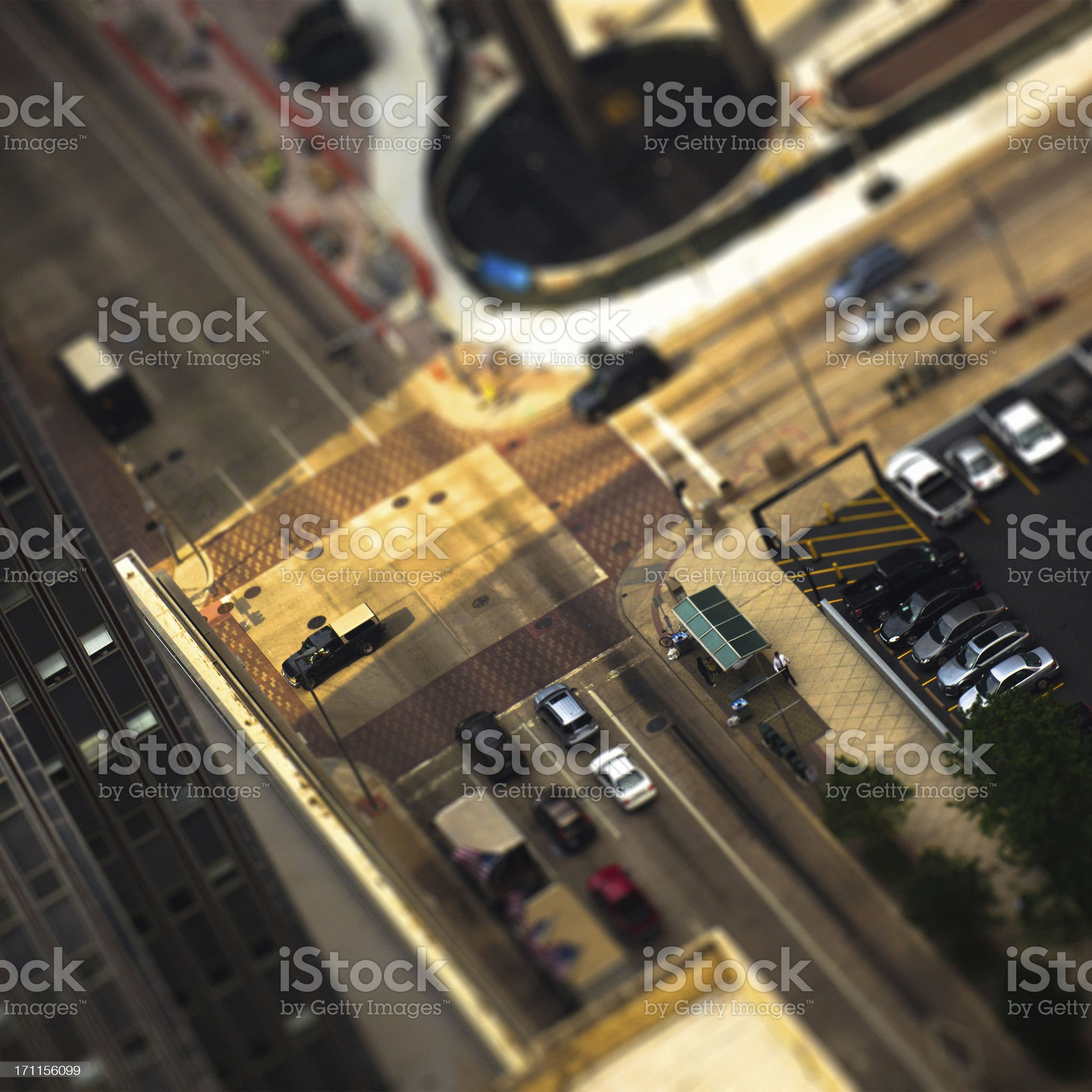 Houston Downtown Aerial View Tilt Shift royalty-free stock photo