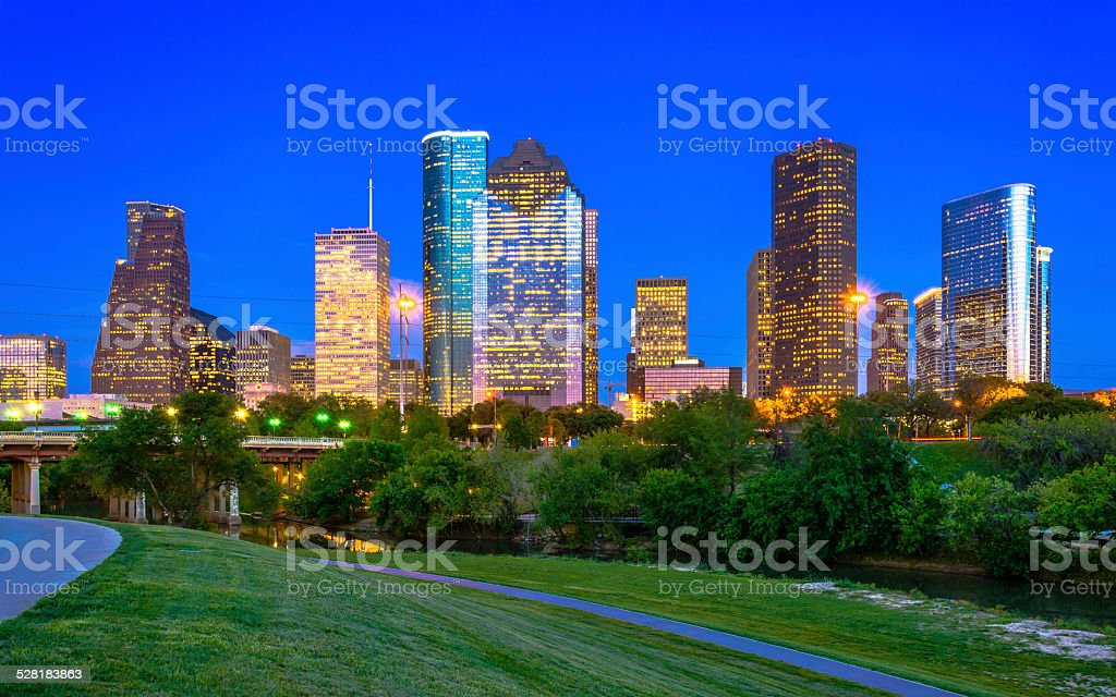 Houston downtown at dusk stock photo