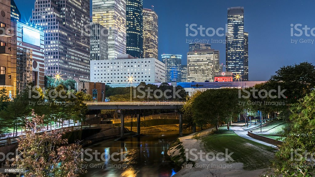 Houston downtown at night stock photo