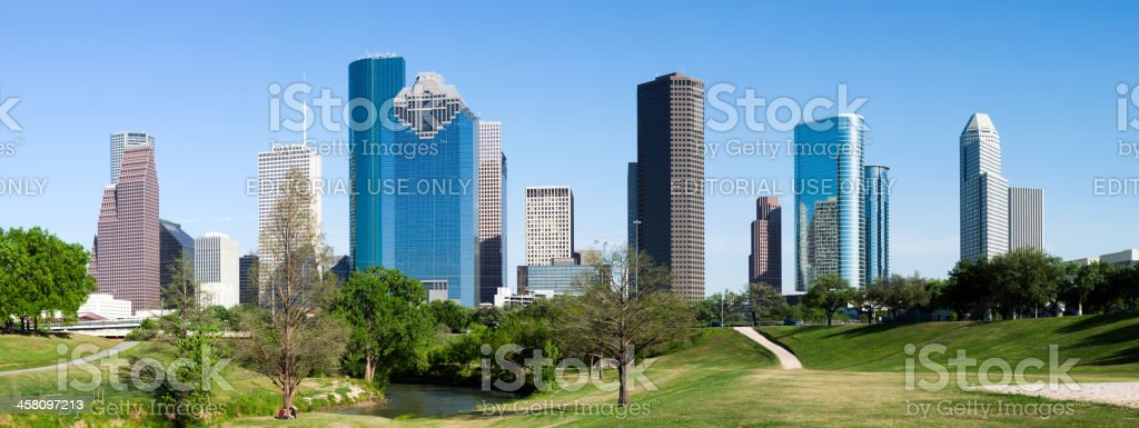Houston Downtown Skyscraper seen from Bayou Park royalty-free stock photo