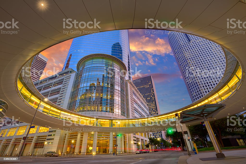 Houston Downtown sunset skyscrapers Texas stock photo