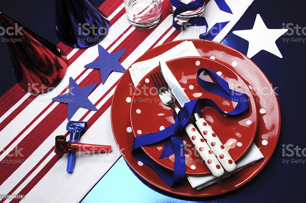 Houston football fans cheerleaders or Independance Day party table royalty-free stock photo