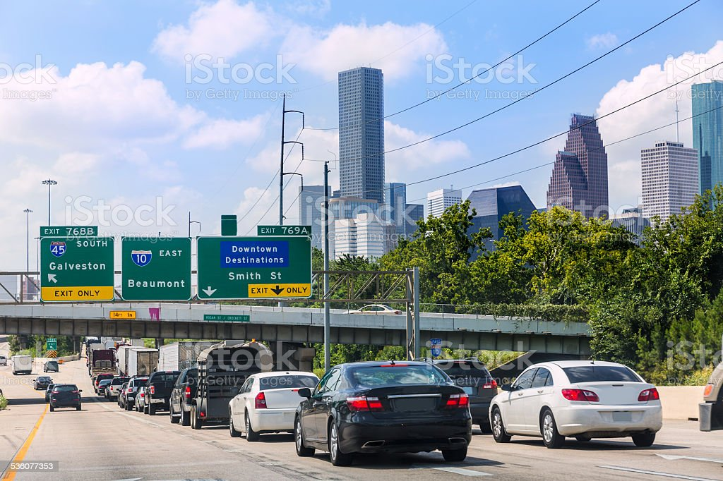 Houston Fwy traffic 10 Interstate in Texas US stock photo