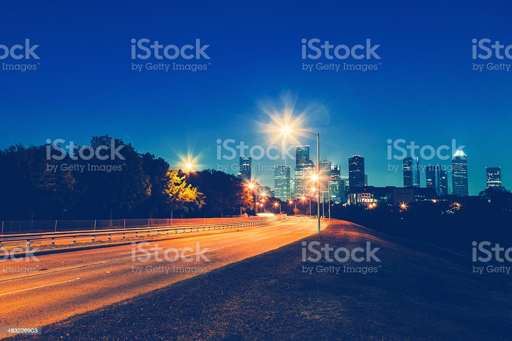 Houston, Highway by Night and Skyline royalty-free stock photo