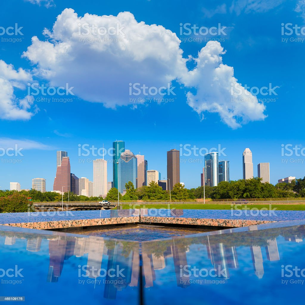 Houston skyline and Memorial reflection Texas US stock photo
