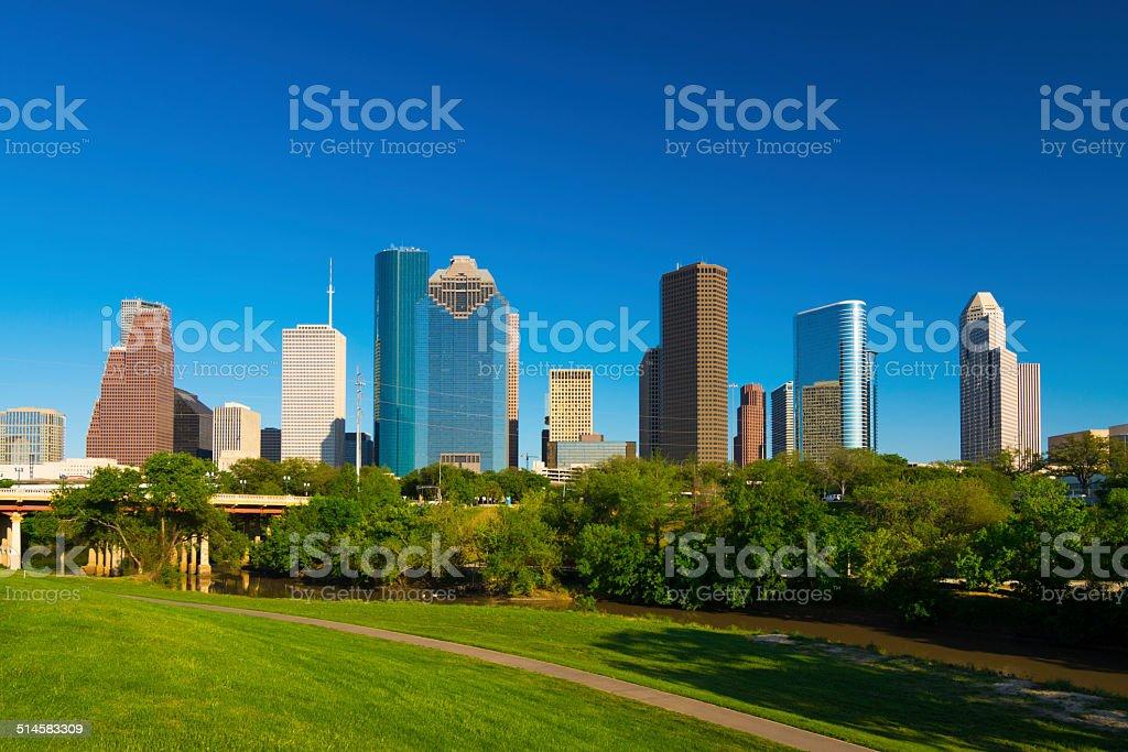 Houston skyline and park stock photo