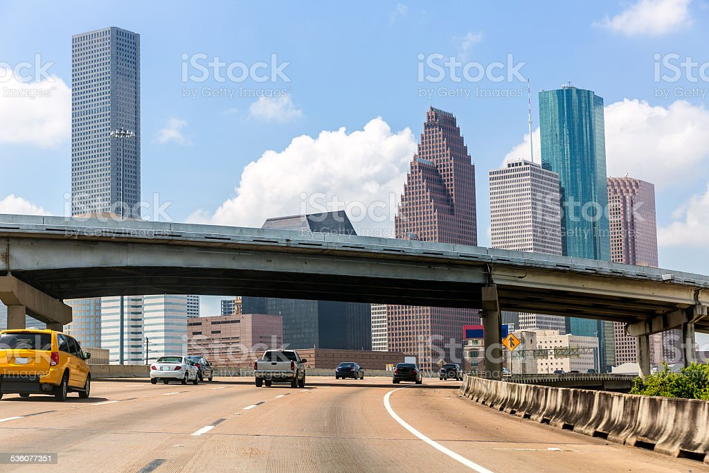 Houston skyline at Gulf Freeway I-45 Texas US stock photo