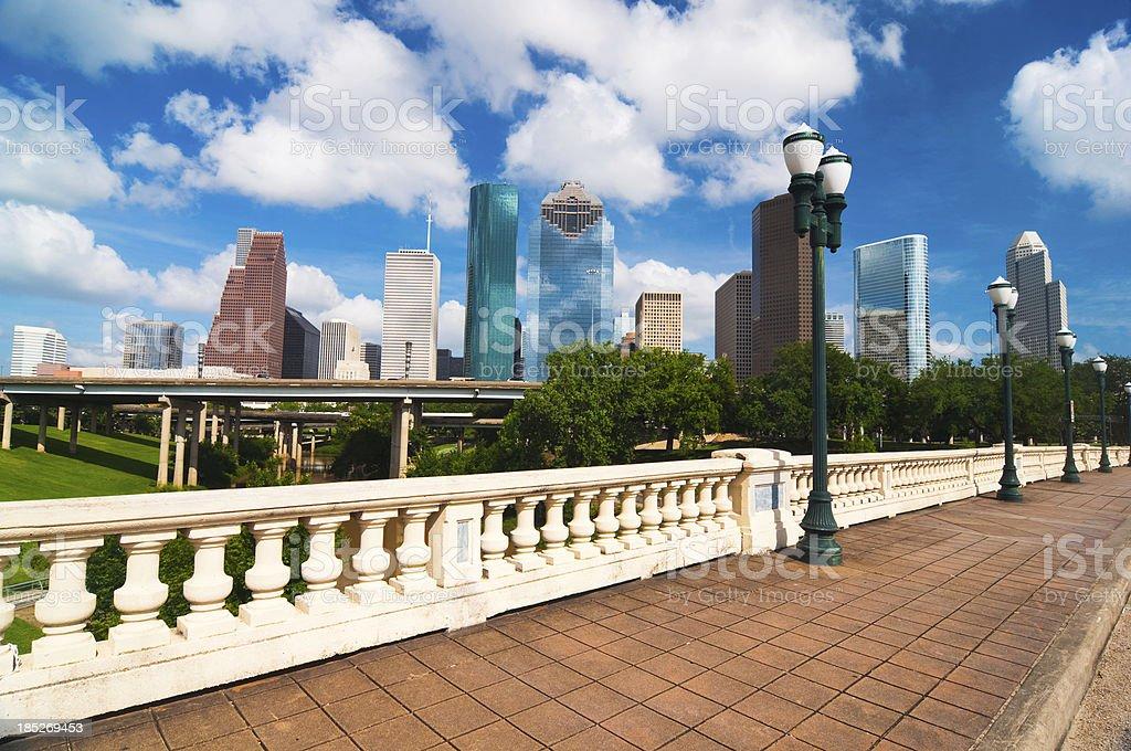 Houston skyline, bridge, and historic lamp posts stock photo