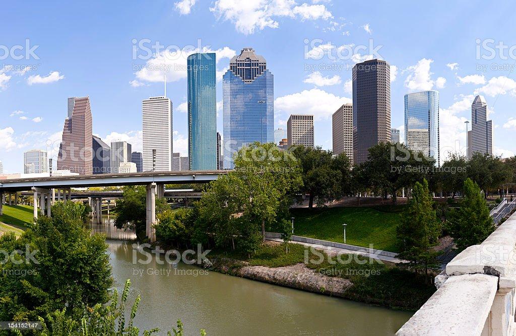 Houston Skyline - Buffalo Bayou Bridge stock photo