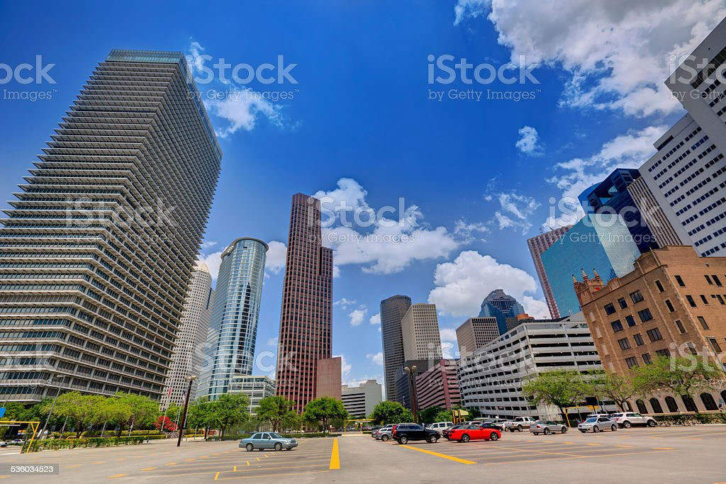Houston skyline cityscape in Texas US stock photo