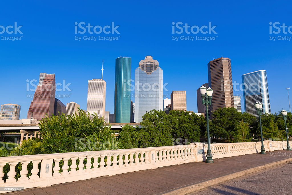 Houston skyline from Sabine St bridge Texas US stock photo