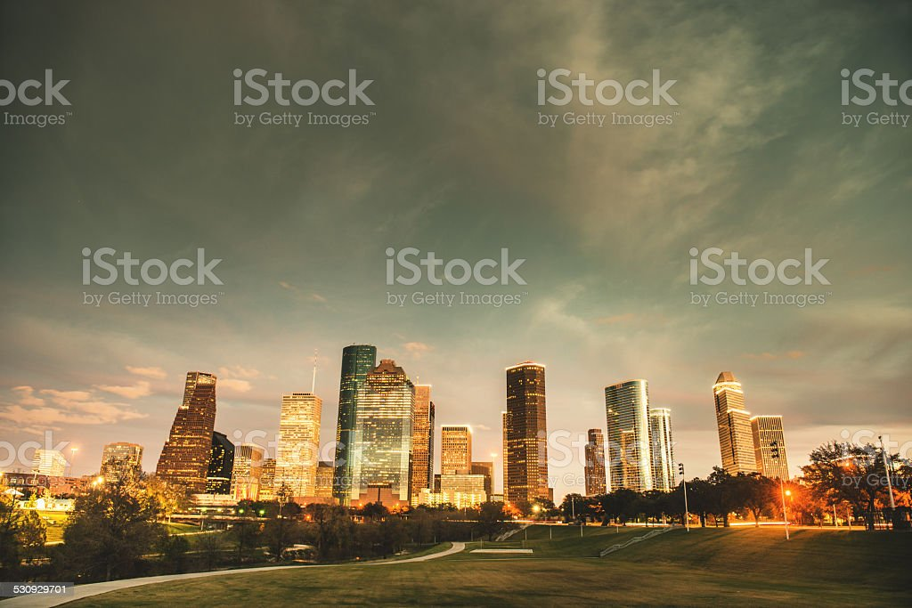 Houston skyline on the night stock photo