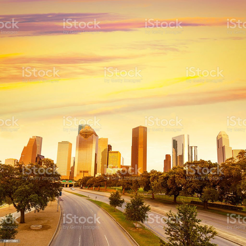 Houston skyline sunset from Allen Pkwy Texas US stock photo