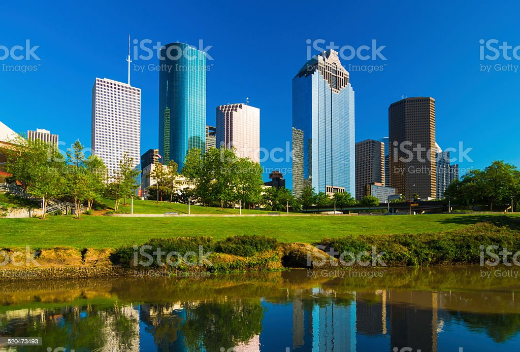 Houston skyscrapers with Buffalo Bayou river stock photo