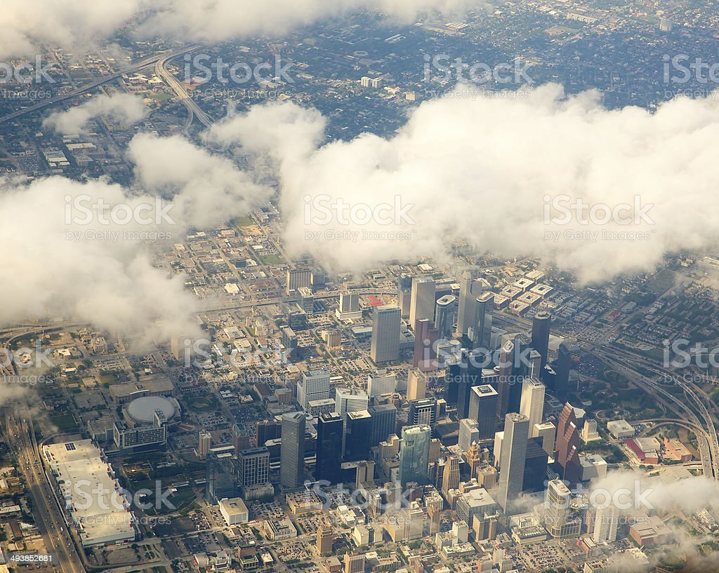 Houston Texas cityscape view from aerial view stock photo
