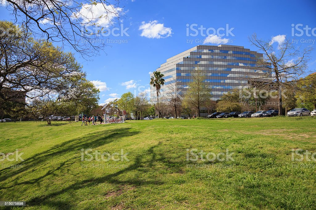 Houston Texas Skyline with modern skyscrapers and blue sky view royalty-free stock photo