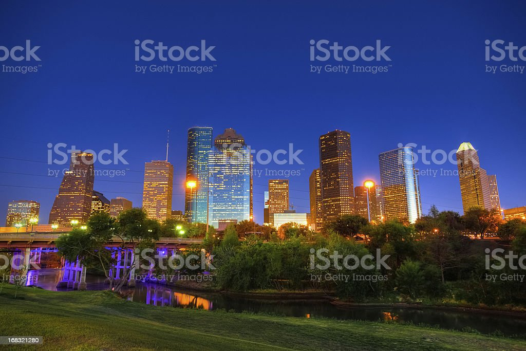 Houston's financial district on spring day stock photo