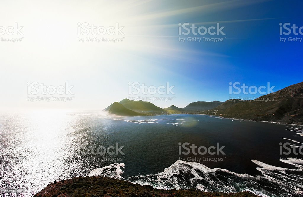 Hout Bay, Cape Town, sunlight, hot, dazzling, ocean, scenic, bay, stock photo