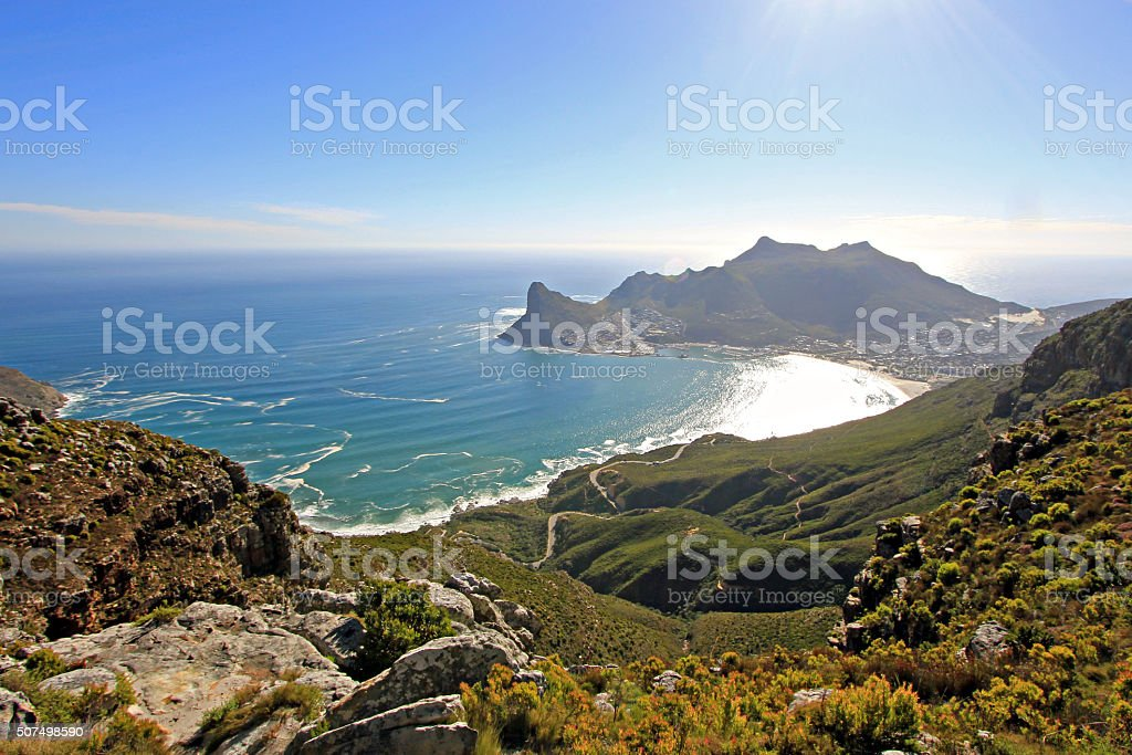 Hout Bay from Silvermine Nature Reserve stock photo