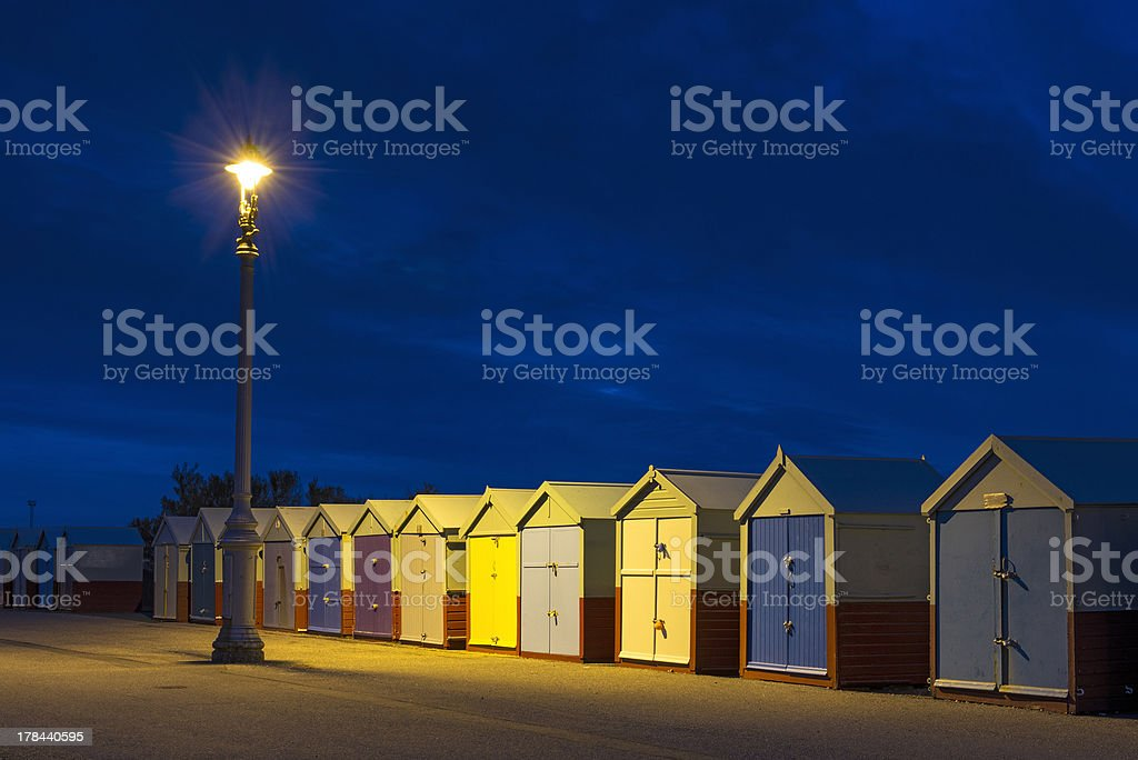 Hove Beach Huts at Night, East Sussex, UK. stock photo