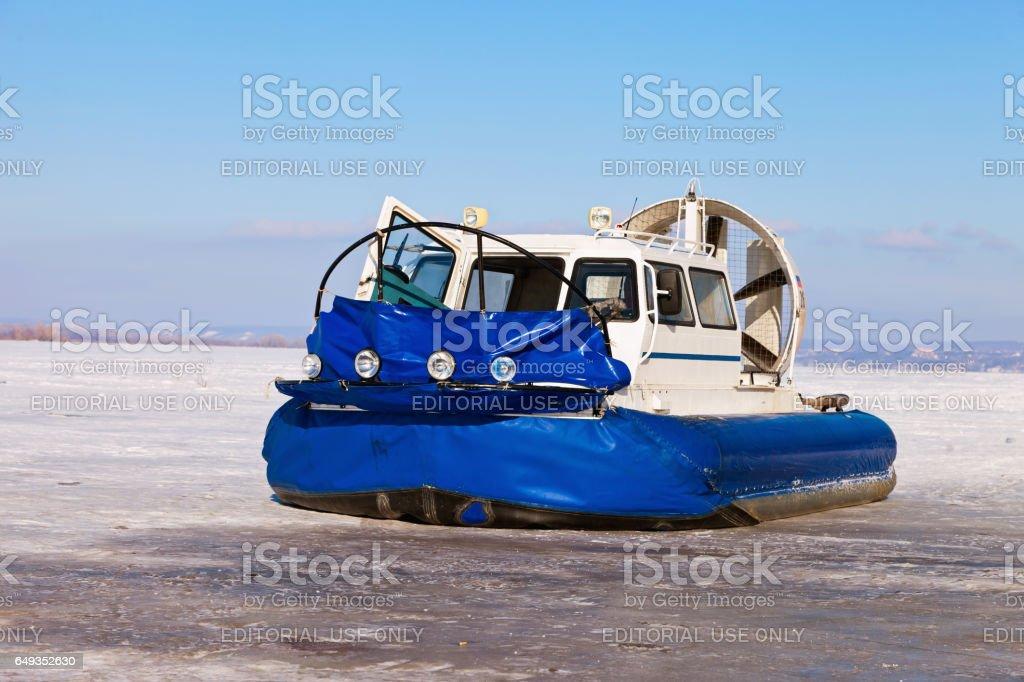 Hovercraft on the ice of the frozen Volga River in Samara stock photo