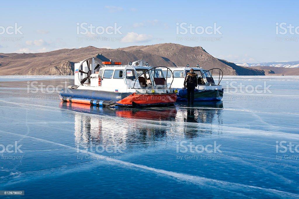 Hovercraft on the surface of Lake Baikal stock photo