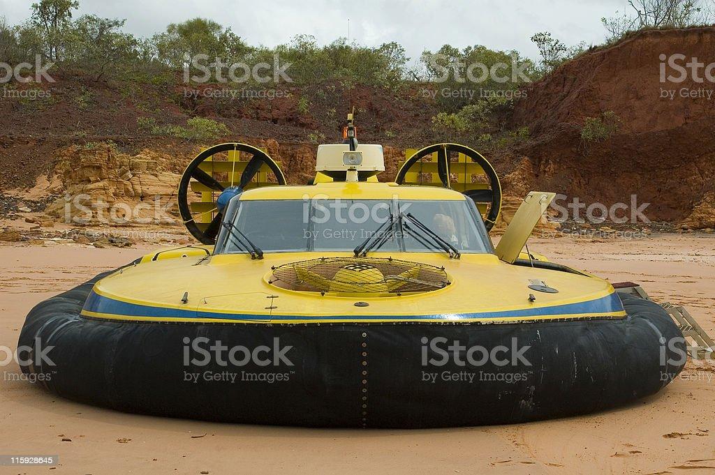 Hovercraft parked on beach stock photo