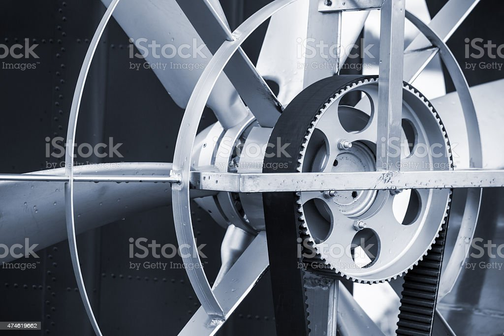 Hovercraft propeller with traction belt, closeup stock photo