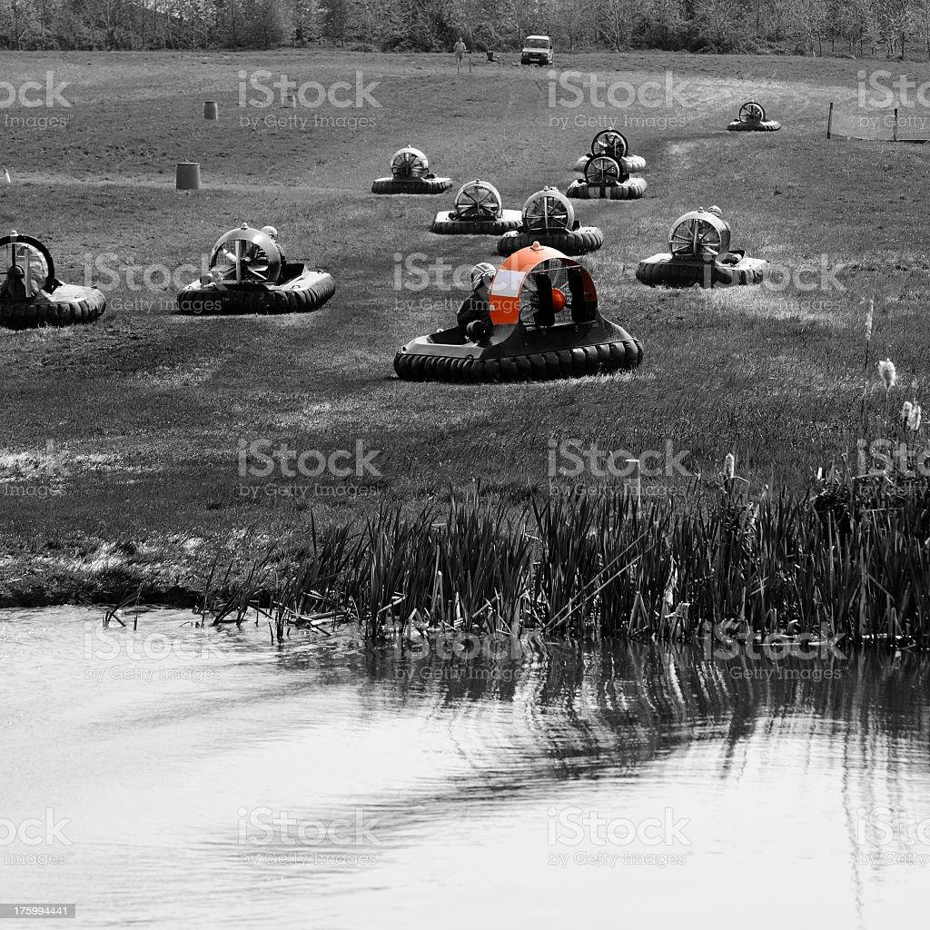 Hovercraft racing stock photo