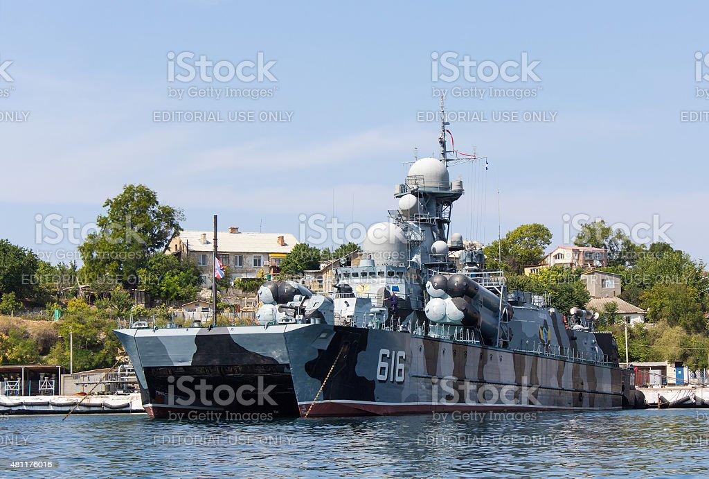 Hovercraft 'Samum' berth in Sevastopol stock photo