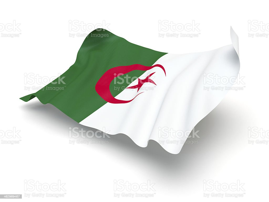 Hovering Flag of Algeria (Clipping Path) stock photo