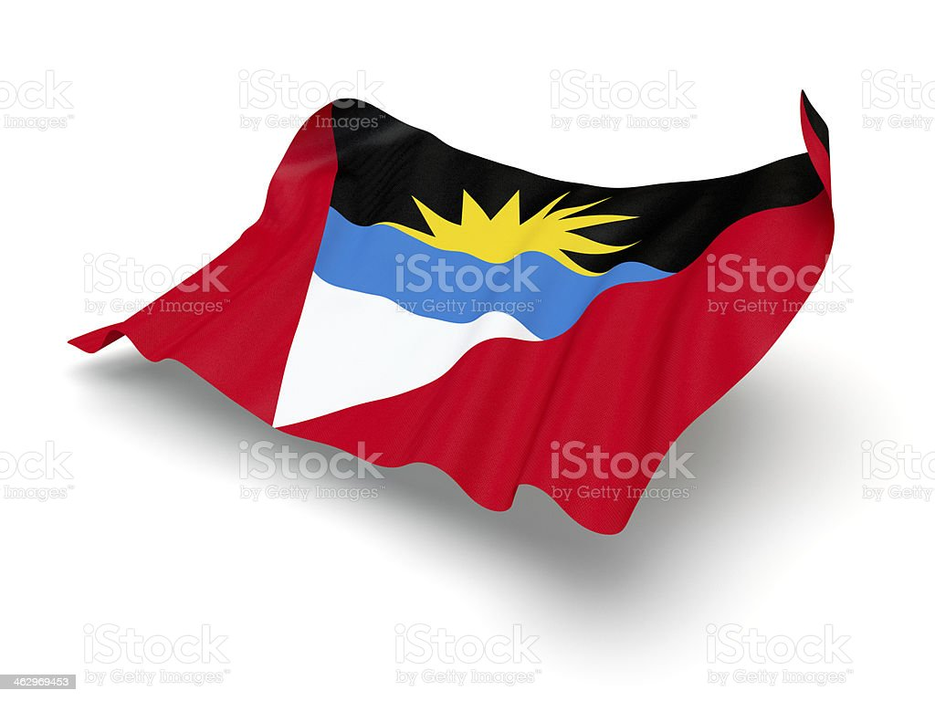 Hovering Flag of Antigua and Barbuda (Clipping Path) stock photo